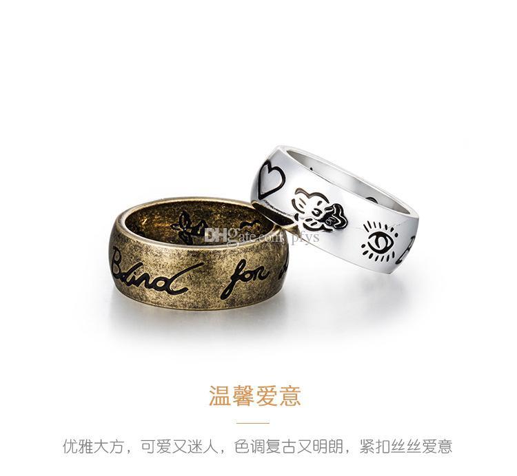 Tide Brand Blind для любви Кольцо бесстрашных любовь глаз и цветы и птицы буквы ретро Пара титановое стальное кольцо