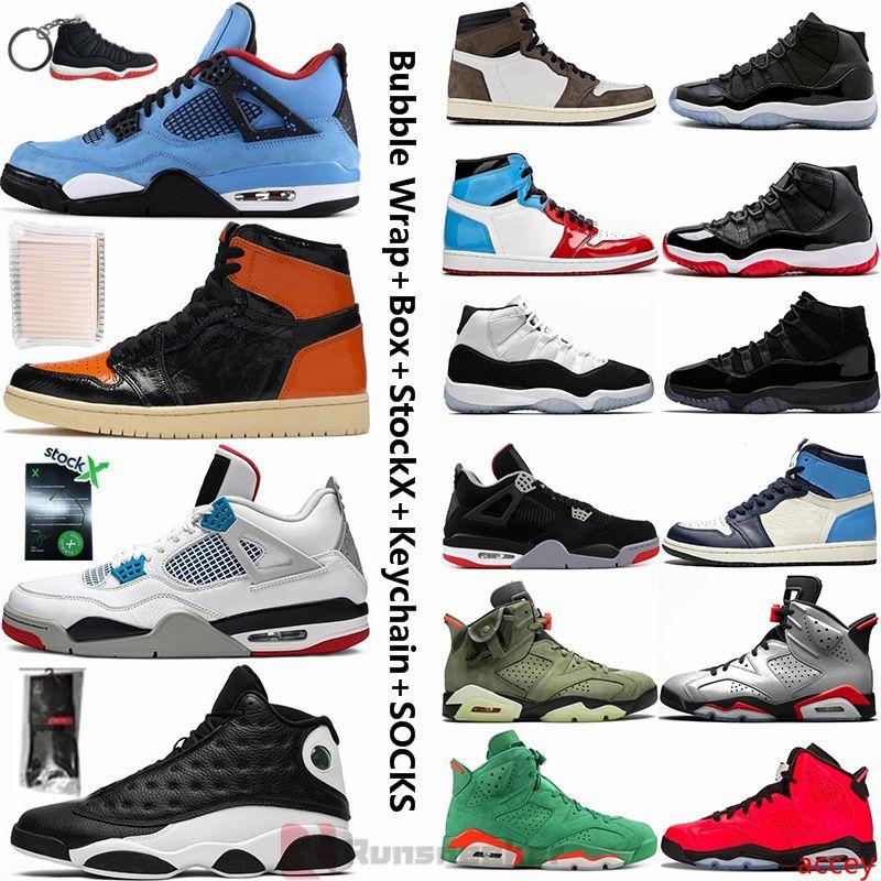Jumpman Basketbol Sneakers 4 kaktüs Jack 4 s ne 11 11 S Bred Concord 6 Travis scotts 1 1 S korkusuz Obsidyen 14 erkek Basketbol Ayakkabı