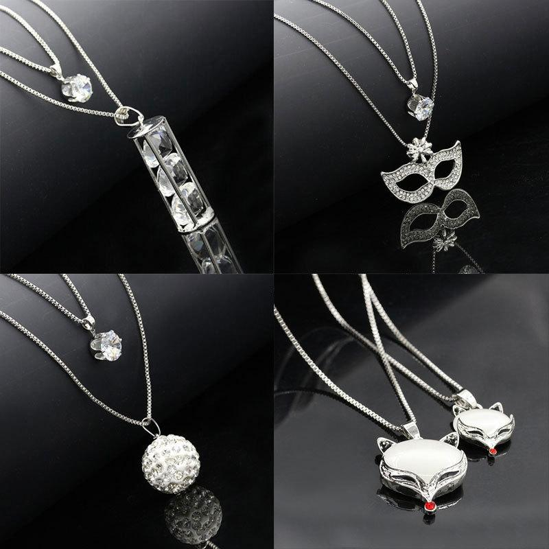 Exquisite halskette set mode hochzeit schmuck wilde lange kette halskette pullover nachahmung kristall zirkonia zirkon halskette