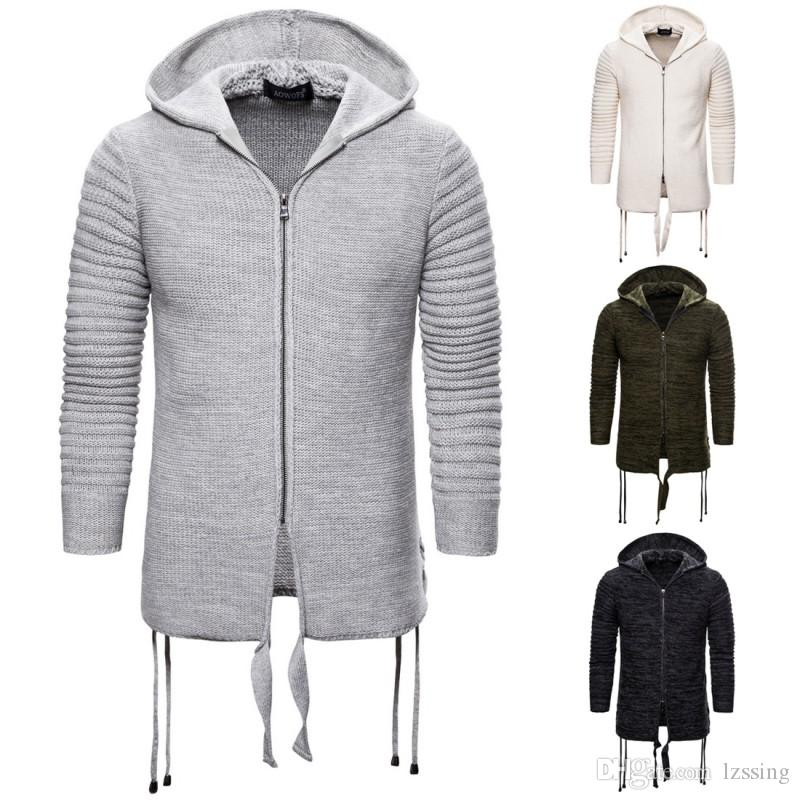 Sweater Coat Men Winter Thick Warm Hooded Cardigan Jumpers Men Striped Cashmere Wool Liner Zipper Coats Men