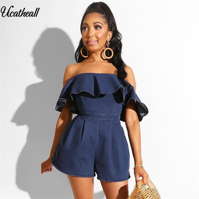 Denim Rompers Womens Jumpsuit Sexy Slash Neck Off Shoulder Ruffles Playsuit Summer Back Zipper Bodycon Sleeveless Jean Jumpsuits