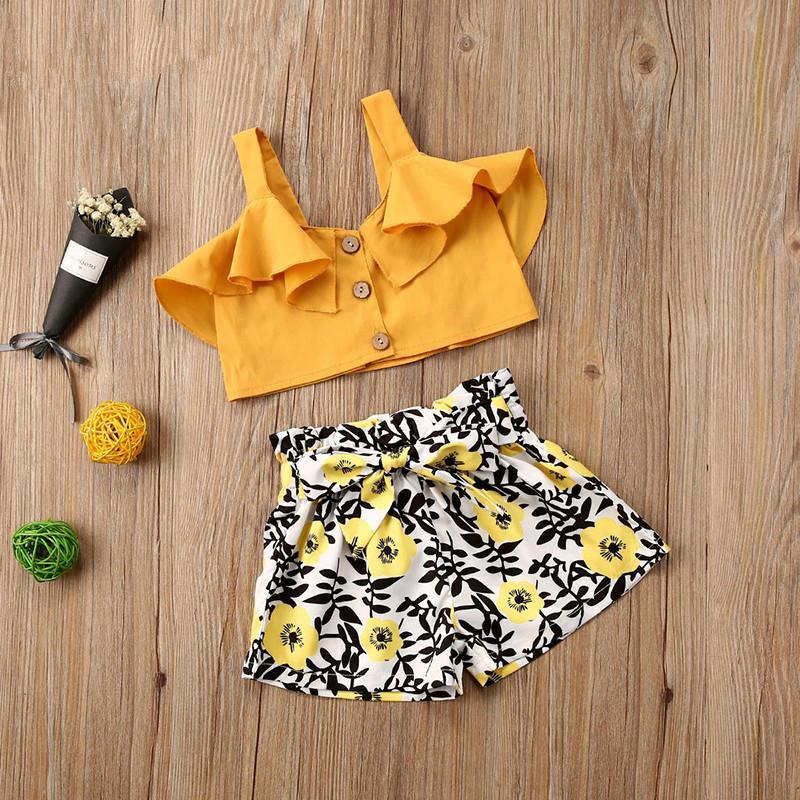 Estate 2-6years dei capretti neonate copre gli insiemi pulsante increspature giallo senza maniche in maglia + bicchierini di Fiori