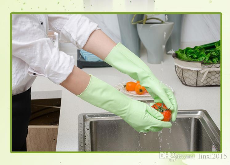 Luvas coloridas reutilizáveis recortadas Resistentes À Prova de água para uso doméstico para lavar louça lavar roupa limpar luvas de borracha SN1424
