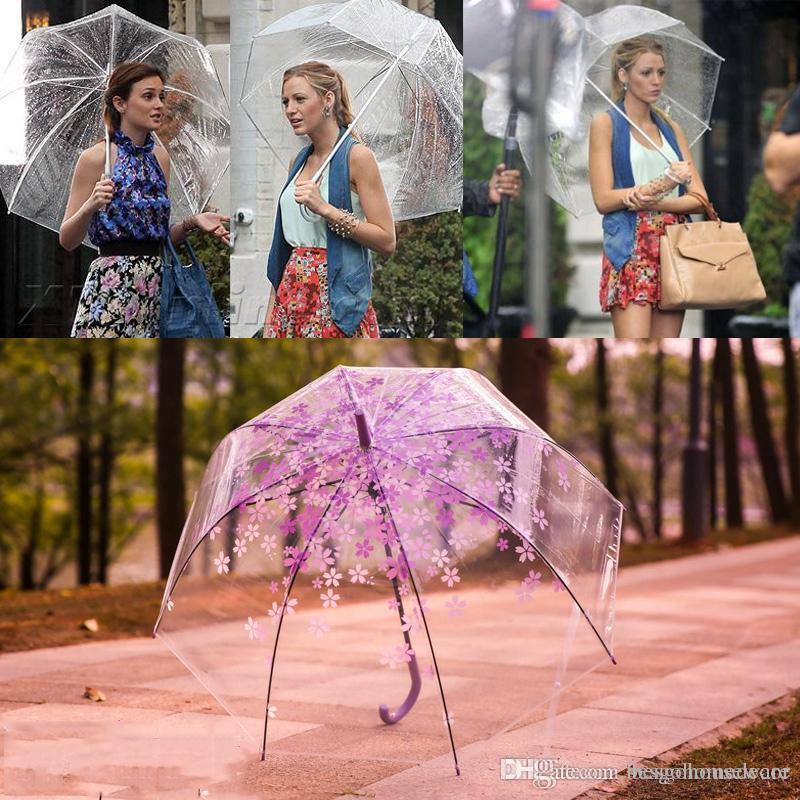 Transparent Stiel Regenschirme Tanz Prop Halbautomatische Regenschirm Summer Fashion Tief Dome Regenschirm Mädchen Pilz Regenschirm BH1689 TQQ