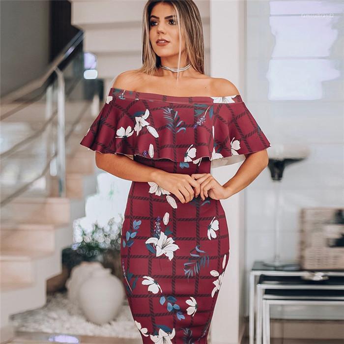 Elbise Moda Bir Omuz Ruffled Skinny Kalça Seksi Dişi Elbise Kadın Yaz Designer yazdır