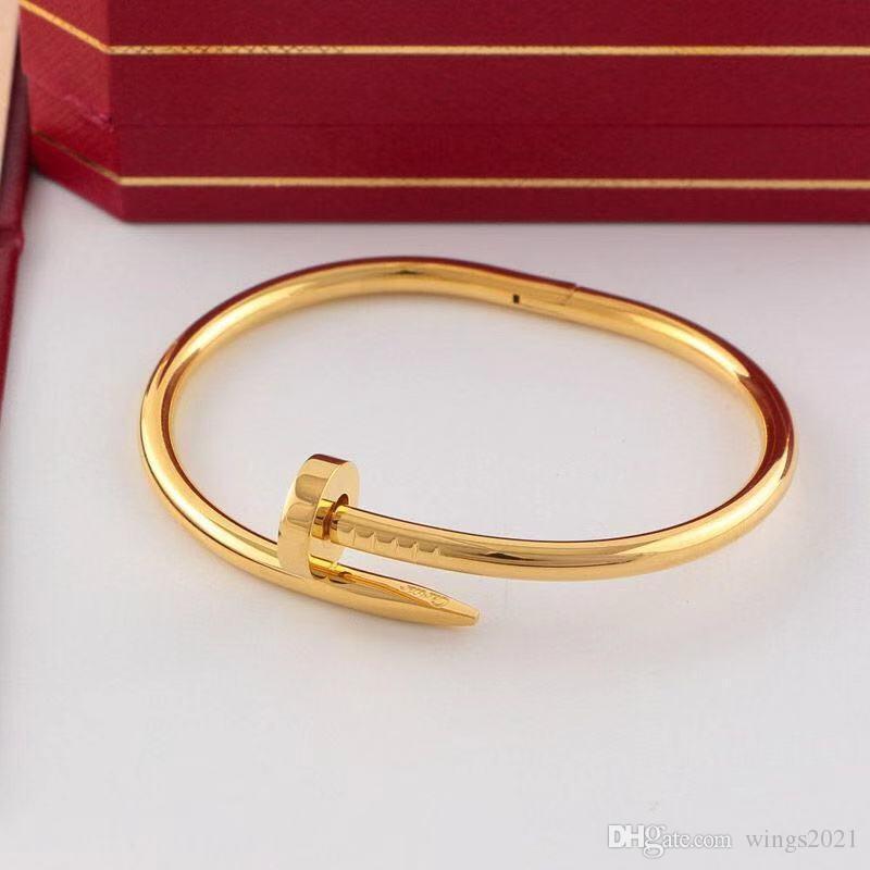 Klasik Marka BilezikCartierKadınlar Mücevher Tasarımcısı Pırlanta Bilezik Moda Titanyum Çelik Bilezik Pembe Altın Altın Gümüş Siyah