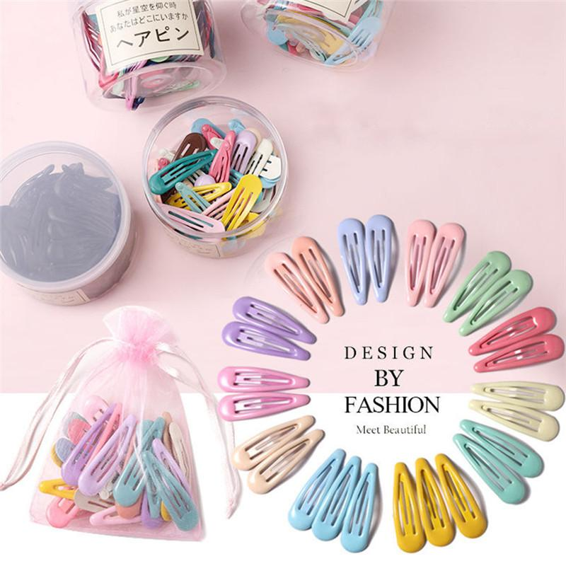 3-40Pcs 5cm Snap Hair Clips Pins BB Hairpin Color Metal Barrettes for Baby Children Women Girl Styling Accessories