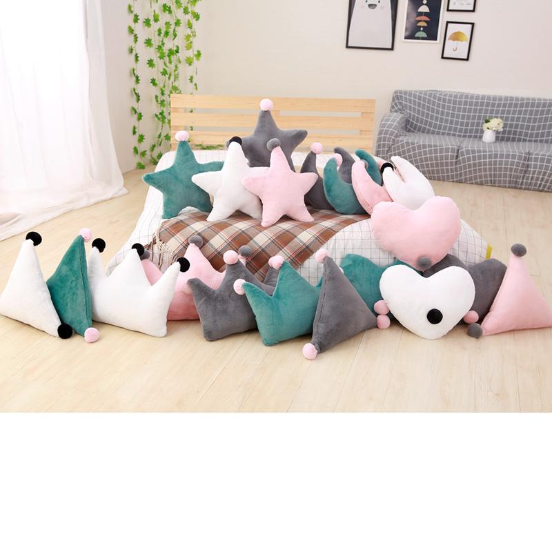 45cm New Sofa Cushion Room Decoration Kids Sleeping Doll Super Plush Pillow Lovely Stuffed Heart Moon Crown Star Shape Toys