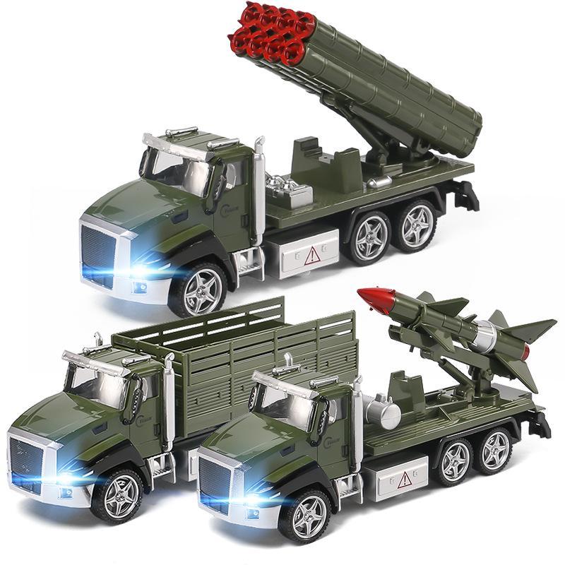 LD moulé sous pression Alliage Militaire Camion Modèle Jouet, Missile véhicule, fusée de voiture, avec son Lingts, Pull Back, Ornement, De Noël Enfant Cadeau d'anniversaire, 6618