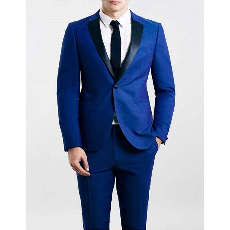Nach Maß neue Art-Groomsmen Notch Schwarz-Revers-Bräutigam-Smoking Royal Blue Herren Anzüge Hochzeit Bester Mann (Jacket + Pants) B831