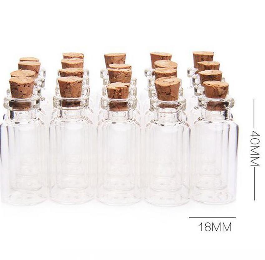 5мл Корк Вуд Мини Стеклянные бутылки Мини стекла Пустые баночки Контейнеры бутылки баночки Подвески ремесленного Drift флакон духов KKA7803