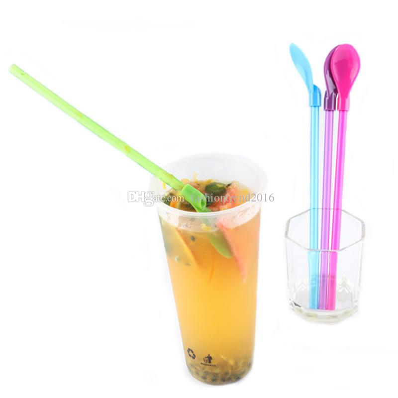 2 in 1 Plastic Drinking Straw Spoon Tea Cocktail Shaker Coffee Practical Spoons Bar Party Supply