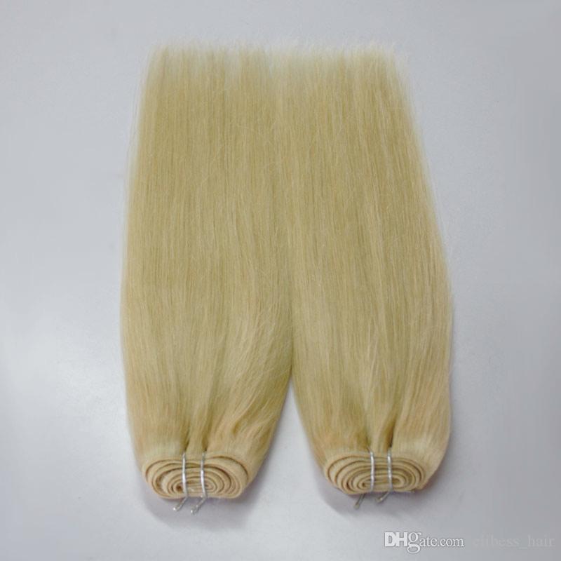 blond européenne # 613 100% Remy blanc Blond non transformé Cheap humain tresser cheveux blonds et raides 4 faisceaux vierge cousent des cheveux dans les cheveux Extensions