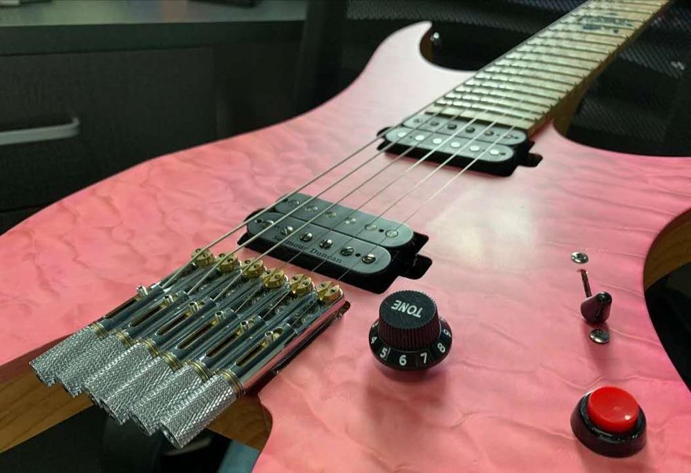 6 String ponticello della chitarra senza testa smazzato Fret -Single Brass ventilatore fisso Ponti per chitarra elettrica