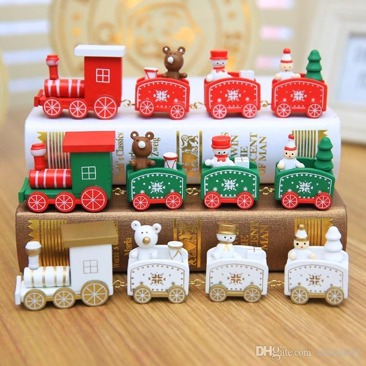 4 Сучки Рождественский поезд Окрашенные деревянные рождественские украшения для дома с Санта / Bear / Снеговик Детские игрушки Украшение Navidad 2019 Новогодний подарок