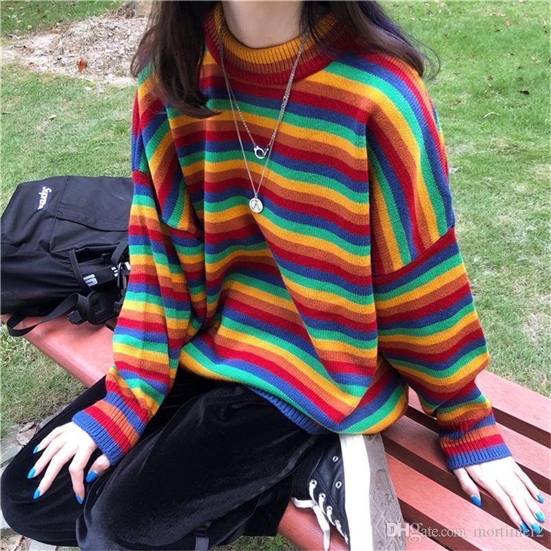 Coreano femminile Harajuku Hong Kong al gusto di maglioni giapponese Kawaii Ulzzang Abbigliamento per le donne del maglione a strisce allentato Donne