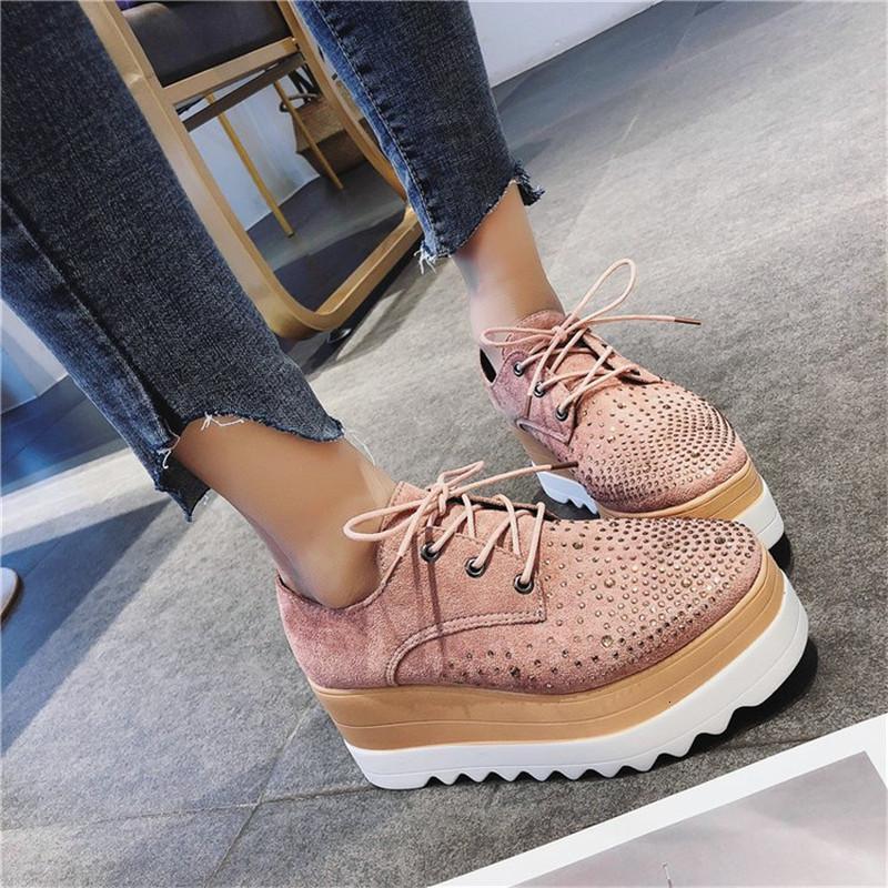 Scarpe Primavera Donna pedane piane strass Lace-Up Zeppe Sneakers signore Oxford Donna Casual Flats cristallo