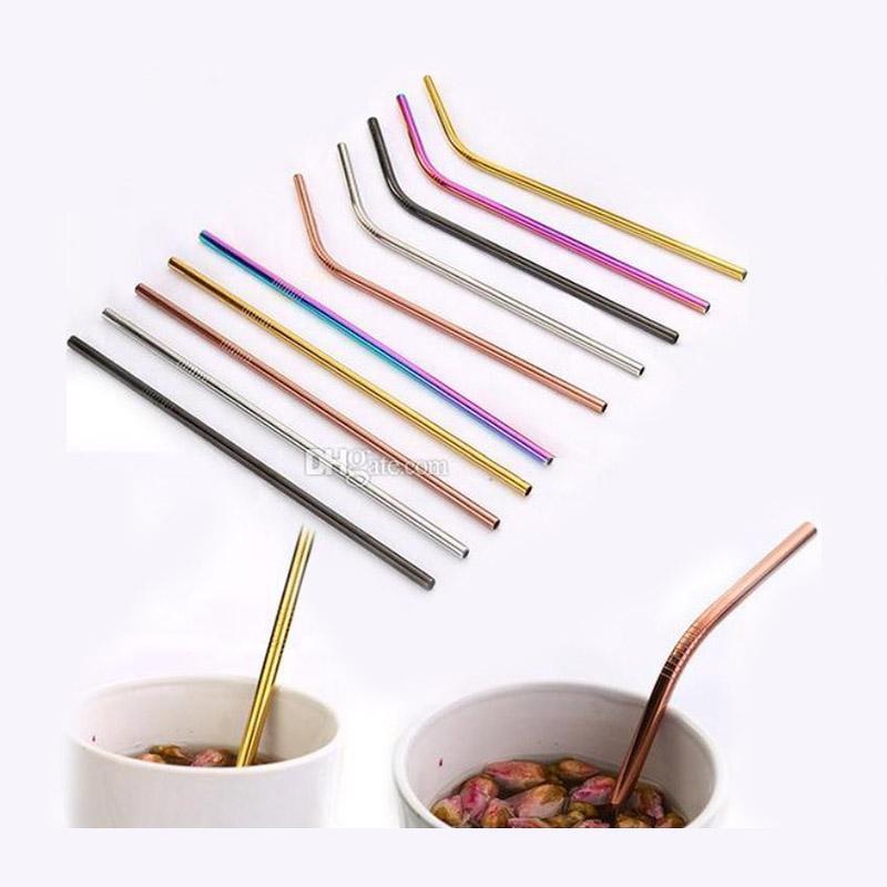 Новый радужный цвет прямой и изгиб соломы из нержавеющей стали и щетка для чистки многоразового использования питьевой соломы бар питьевой инструмент
