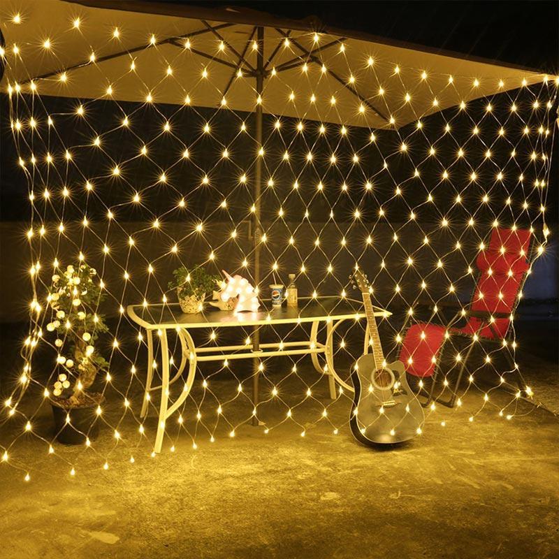 크리스마스 순 방수 야외 크리스마스 조명 문자열 커튼 등 여덟 개 기능 야외 장식 낚시 그물 빛 홀리을 LED 조명