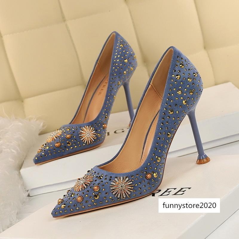 Femmes 9.5cm haut luxe élégant bout pointu Lady cristal troupeau de pompes de mariage de Talons Red Shoes