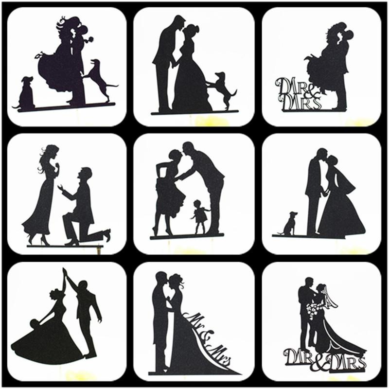 Cake Topper Wedding Black Party Supplies Bride And Groom Cake Topper Weeding Decoration For Weddings Mr Mrs Wedding