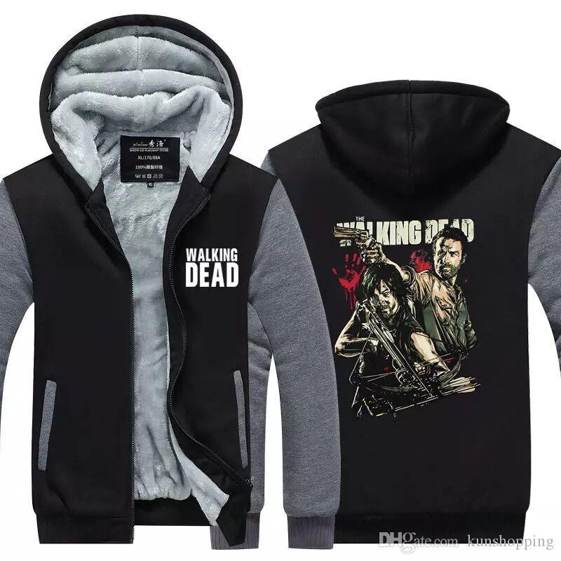 The Walking Dead Hoodie зомби Daryl Dixon брат балахон кашемира Толстовка хлопок Толстовка зимы ватки Mens фуфайки США Размер EU Размер