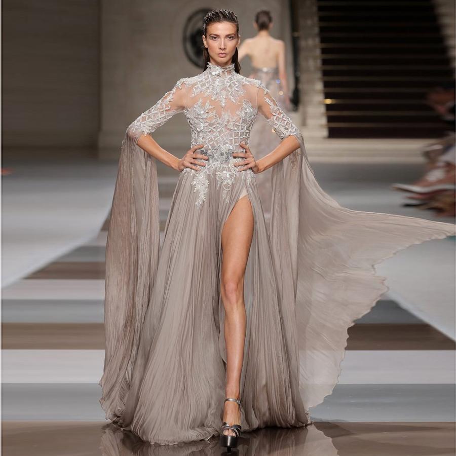 Зияд Nakad длинными рукавами Вечерние платья высокого шеи Sequined Side Split Пром платья Линия развертки Поезд шифон аппликация вечернее платье