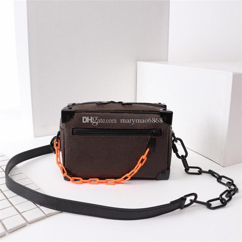 Bolso de hombro para hombre más nuevo Cadena Bolso unisex de caja suave Bolso de lujo de alta calidad Patrón de moda Carteras de bolso cuadrado MINI de París Tamaño 18x13x8cm