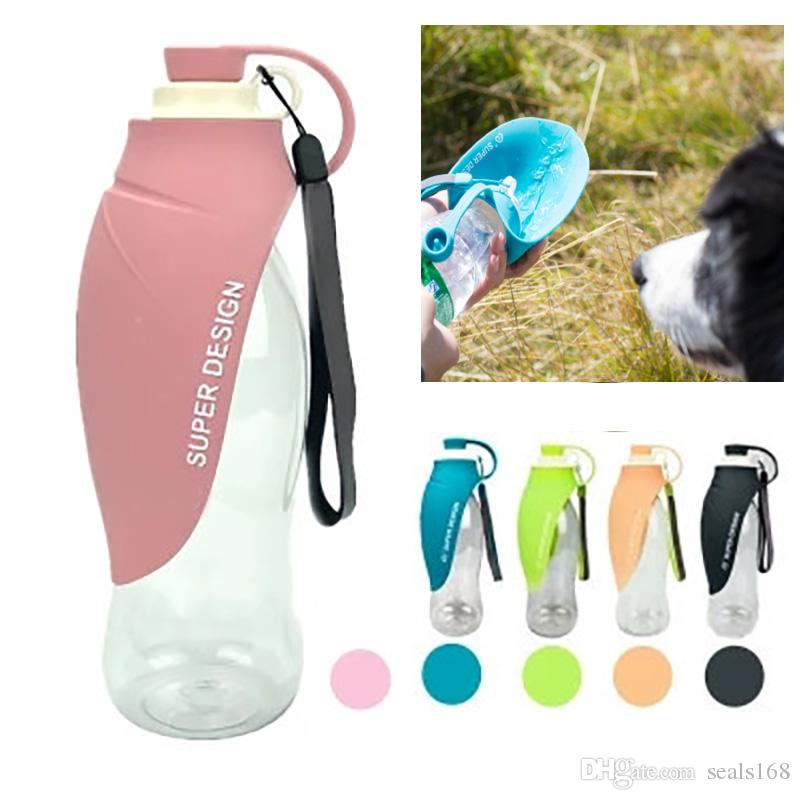 580 ملليلتر المحمولة كلب زجاجة المياه مستلزمات الحيوانات الأليفة الكلب القط الشرب المغذية كأس الماء وعاء في السفر 5 ألوان التجزئة حزمة HH9-2191