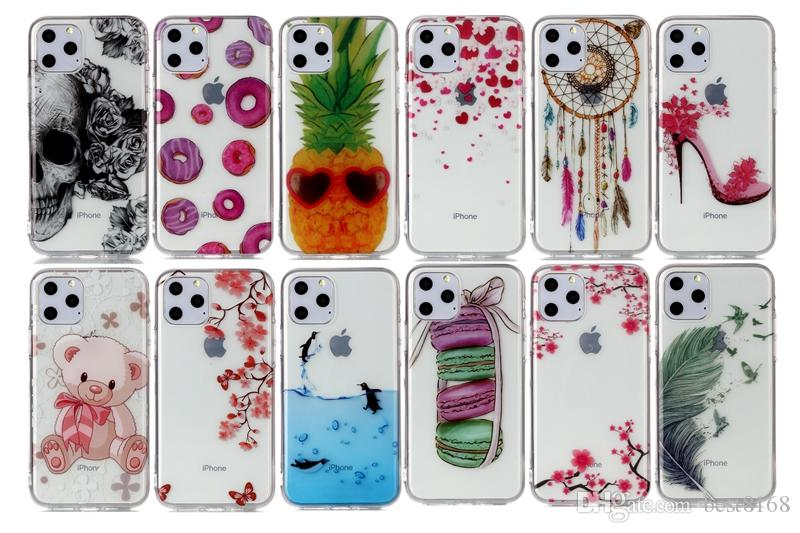 Dolphin Skull Soft IMD TPU Case For Samsung Note 10 Pro Iphone 11 5.8 6.1 6.5 inch 2019 Flower Pineapple Lace Butterfly Donut Feather Covers