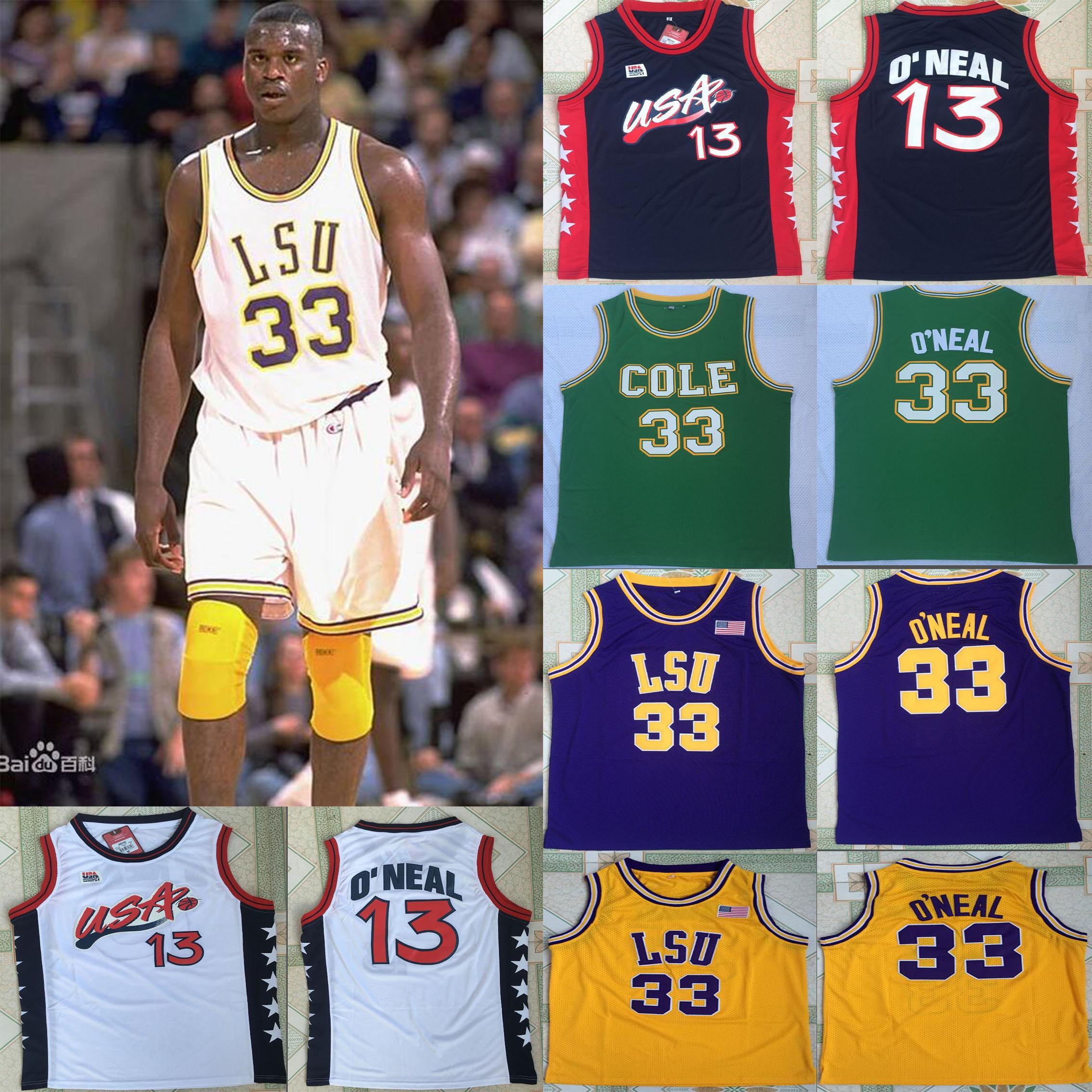 1996 USA sueño equipo # 13 NCAA LSU Tigers de los jerseys 33 Shaquille baloncesto de la universidad de los jerseys camisas de Jersey caen sgipping