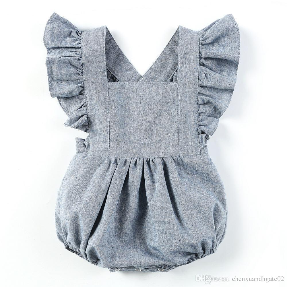 Newborn Infant Baby Girl Denim Romper Jumpsuit Sunsuit Short Outfits Clothes
