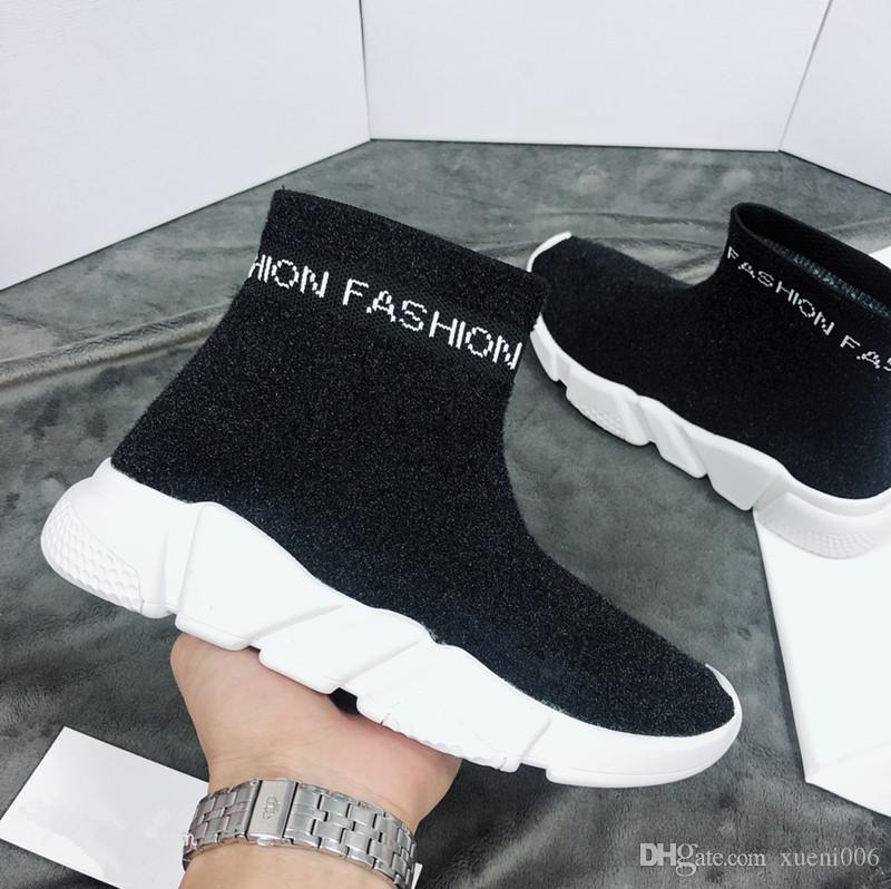 New Hot Top Sock Shoe Paris Speed ​​Trainer Running Shoes Moda Sneakers Sock Raça Runners Black Shoes Homens Mulheres Sports bll180102702 Shoe