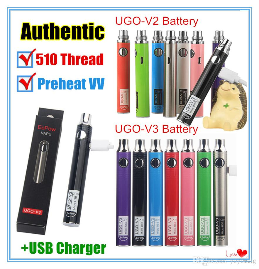 Authentic UGO-V II 2 510 Thread Vape Pen UGO V3 Variable Voltage Preheat Battery Kits EVOD eGo Micro USB Passthrough cartridge battery ecigs