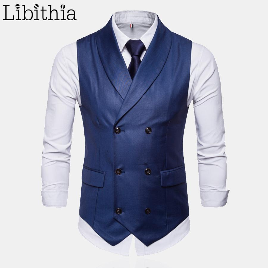 Men's Solid Colors Suit Vest Casual Double-breasted Big Size M-4XL Luxury Wedding Waistcoat Men Wine Red Blue Black Grey T185