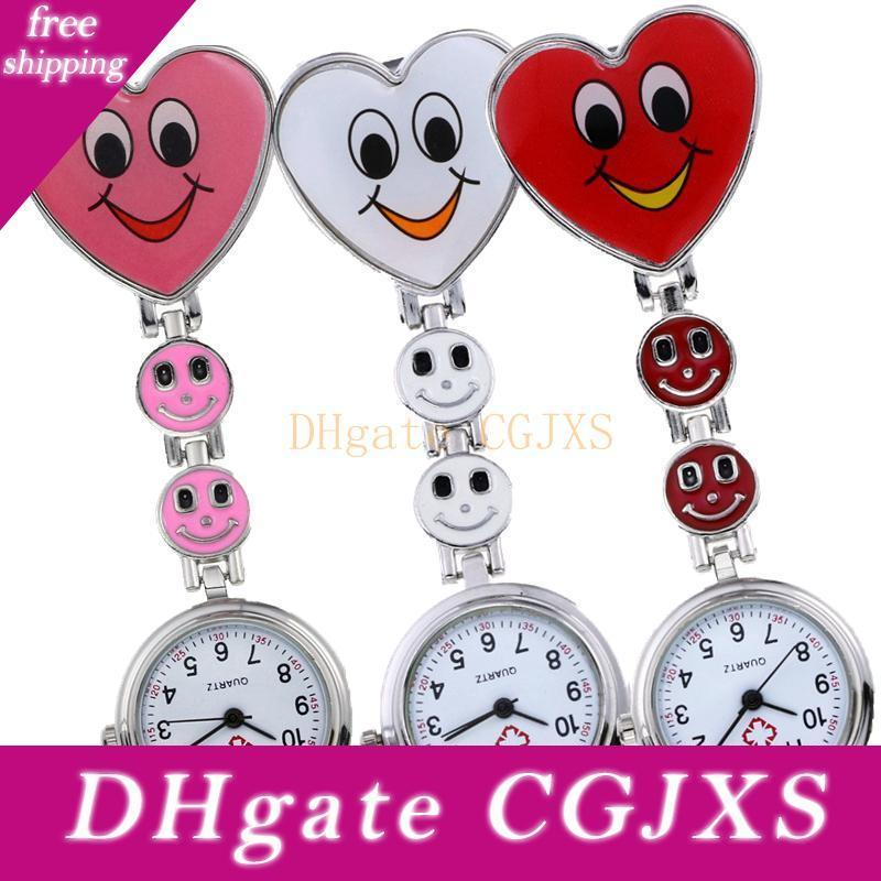 unisex fashion women ladies love heart smile shape nurse watches new doctor medical clock quartz FOB pocket watches for nurse