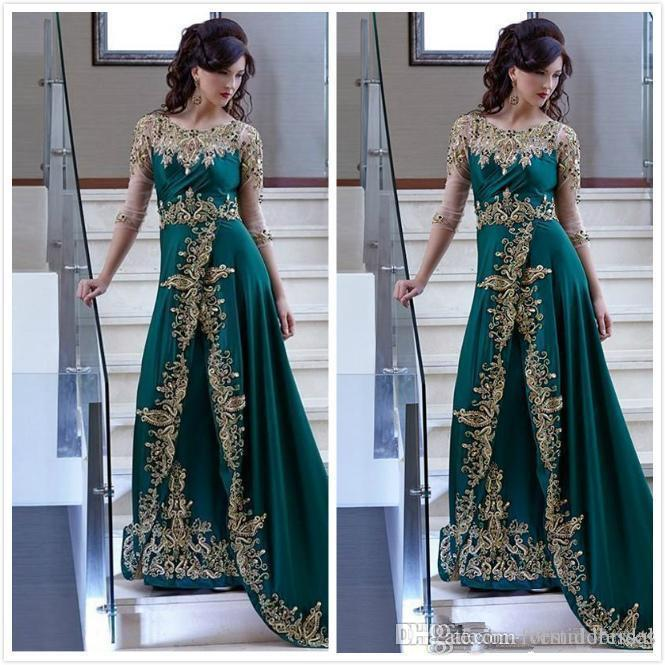 Elie Saab Vestidos árabes Fiesta Vestido de fiesta 2018 Apliques de encaje Satin A Line Emerald Green Africa Prom Ropa formal 3/4 Manga larga