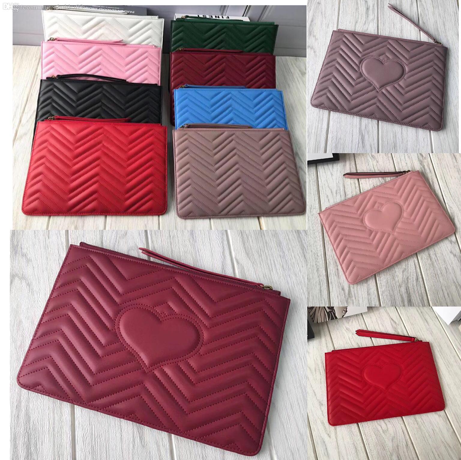 Toptan Kırmızı Kalp Kadın Kozmetik Çantası Deri Tasarımcı Debriyaj Çanta Koyun postu Üst Klasik Kozmetik Çanta Bayan Cüzdan Fermuar Cüzdan Asma