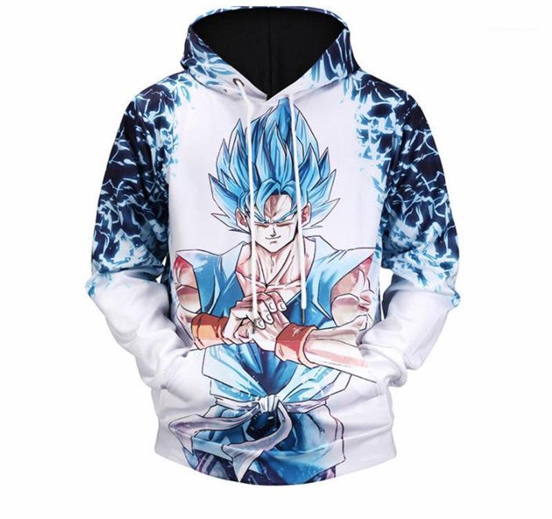 Maschio con cappuccio Street Style Uomo sportivo Abbigliamento Goku 3D Digital Designer Mens Felpe con cappuccio a maniche lunghe