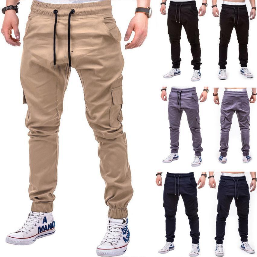 Pants Fashion Men's Pure Color Bandage Casual Loose Sweatpants Drawstring Pant July22 SH190816