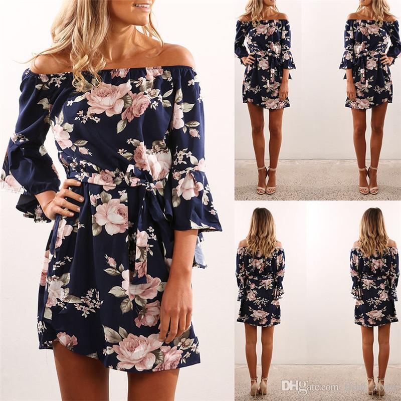 2019 new fashion Summer Sexy Off Shoulder Floral Print Chiffon Dress Boho Style Short Party Beach Dresses