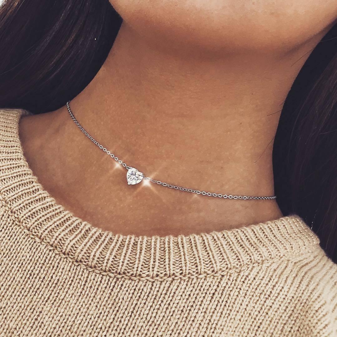 Trendy Kristall dreidimensionale Herz Halskette Anhänger Weibliche Kurze Kette Halskette Anhänger Modeschmuck Party