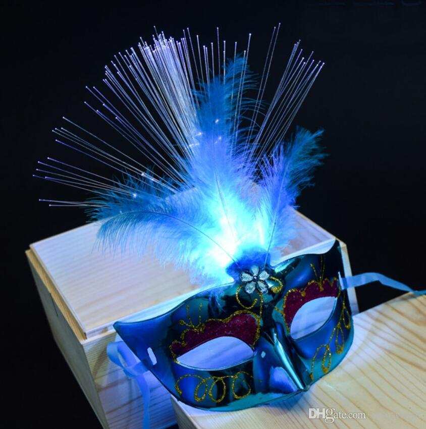 Las mujeres veneciano Venecia pluma LED luminoso máscara de la máscara de la máscara del partido de Bachelorette del vestido de lujo de la princesa bola máscaras de plumas Carnaval