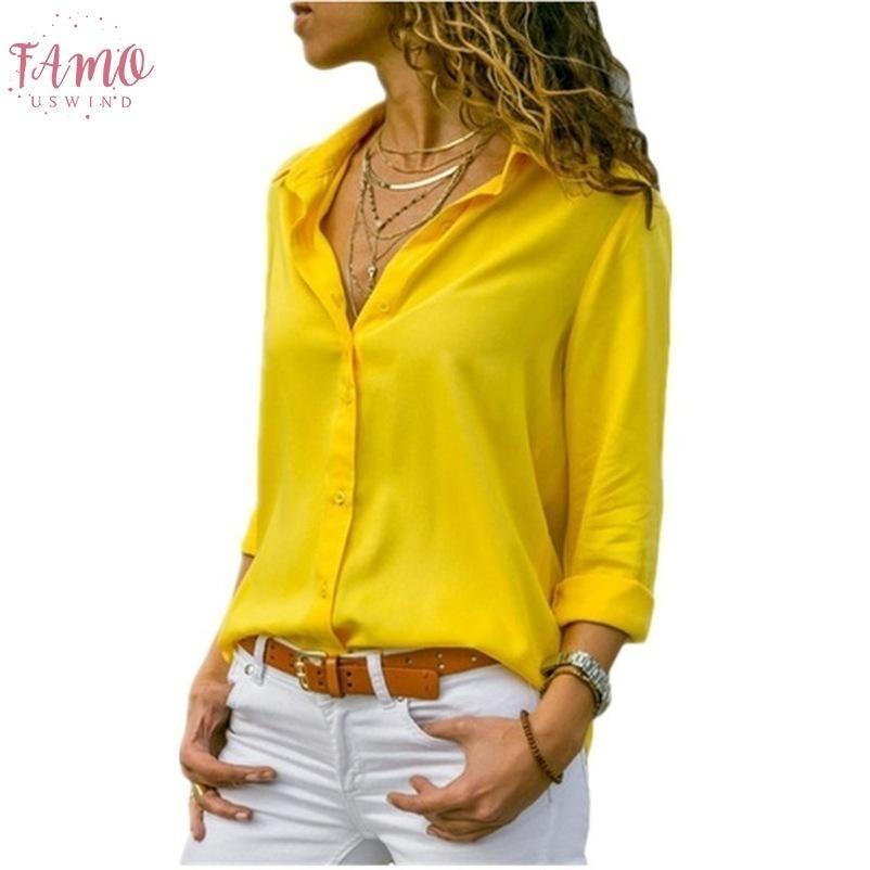 8XL mujeres remata las blusas de manga larga otoño elegante Solid V gasa del cuello de la solapa del cuello de la blusa de trabajo femenina camisas del desgaste Oficina del tamaño extra grande