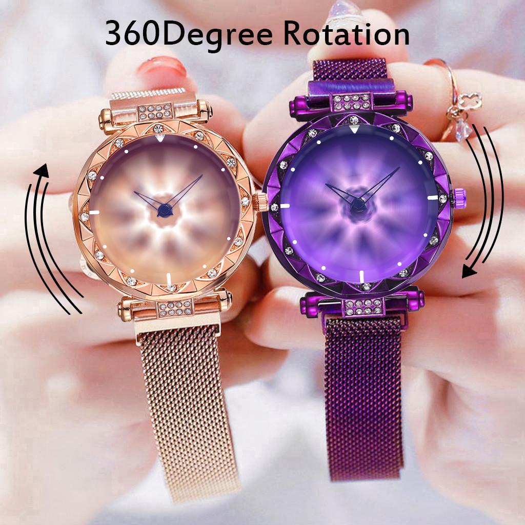 Reloj de pulsera de cuarzo de las mujeres imán hebilla de acero inoxidable flor de la rotación Reloj Reloj Mujer envío de la gota
