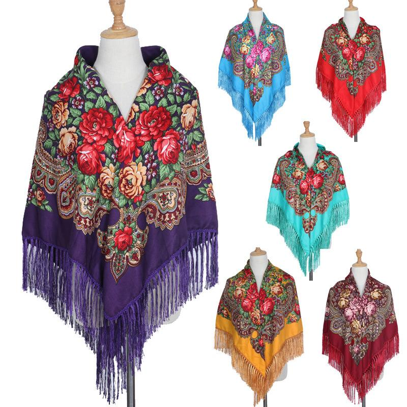HOT بيع الروسية الكبيرة الحجم مربع وشاح القطن طويل شرابة وشاح الربيع الشتاء شال المرأة Floural أنثى كيب يسانس