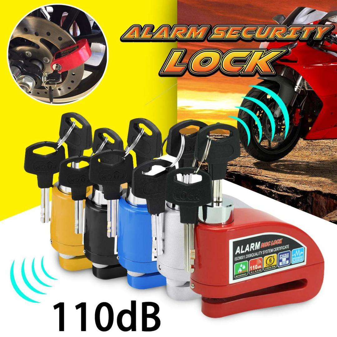 New Metal Motorcycle Bicycle Anti-theft Wheel Disc Brake Lock Security Alarm Red