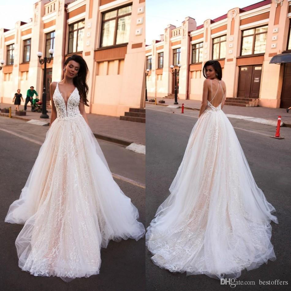 2020 Sunning A Hattı Gelinlik Glitter Boho Gelin Elbise V Yaka arap Vestido De Noiva Artı boyutu Gelinlikler Custom Made