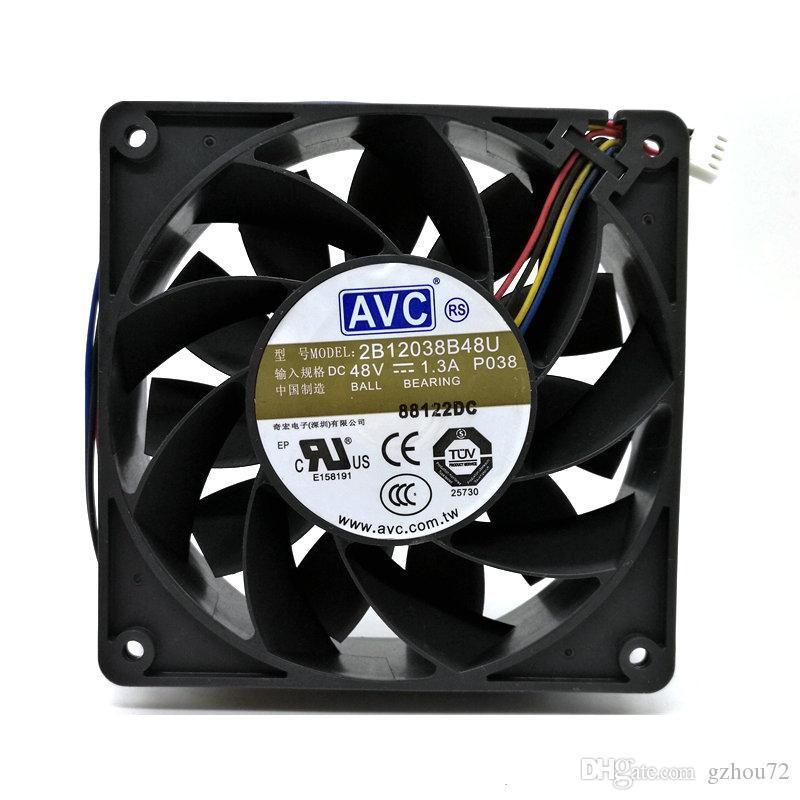 Original AVC 2B12038B48U DC48V 1.30a 120x120x38MM 12 centímetros 4Lines inversor de ventilador de refrigeração