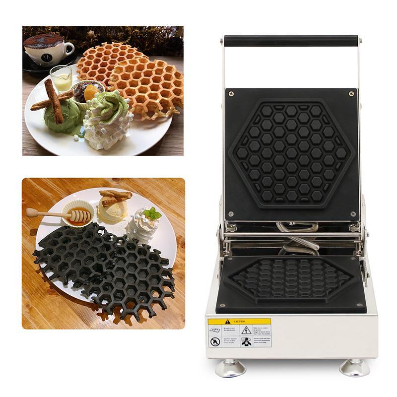 110v 220v antiadherente en forma de nido de abeja en forma de máquina de gofres de Lieja belga Máquina de hacer gofres eléctrica Máquina de hacer pan Panadería